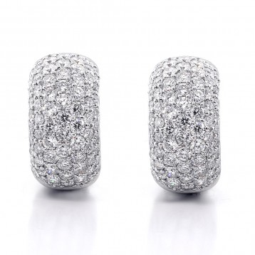 2.82ctw Round Cut Diamond Hoop Pave Earrings 18K White Gold
