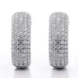 2.59 Cts  Round Cut Diamond Hoop Pave Earrings 18K White Gold