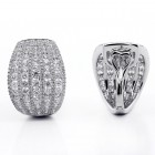 4.25 CTs Round Cut Diamond Hoop Pave Earrings 18K White Gold
