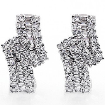 Earings Clip Ons  Total 1.20 Cts Set in 14k White Gold