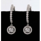 1.64 Ctw Round Cut Halo Micro Pave Diamond Dangle Earrings set in 18k White Gold