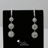 2.03 Ctw Three-Stone Round Cut Halo Diamond Drop Earring Set in 18K White Gold