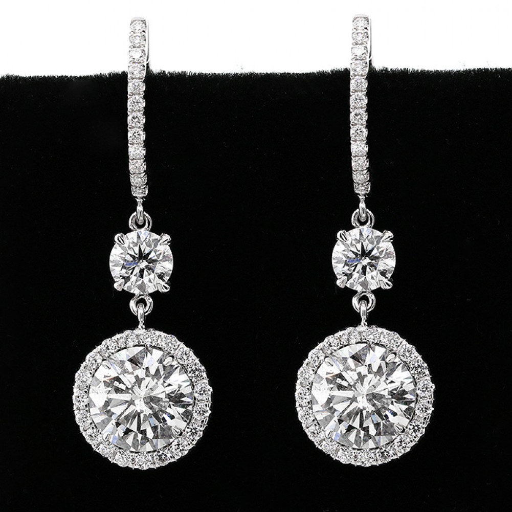 695 Cts Astonishing Hanging Round Cut Diamond In A Halo Setting Earrings