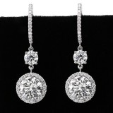 6.95 Cts Astonishing  Hanging Round Cut Diamond in a Halo Setting Earrings