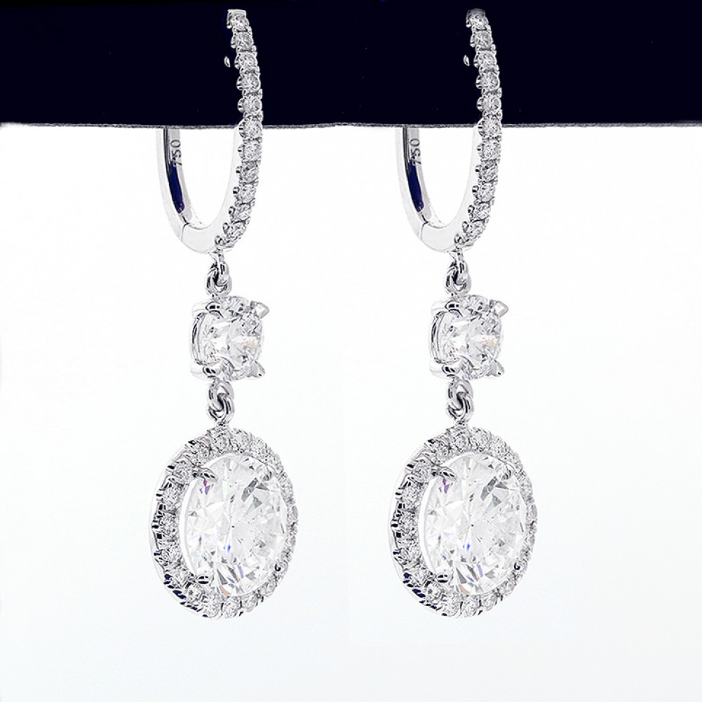 6 95 Cts Astonishing Hanging Round Cut Diamond In A Halo Setting Earrings