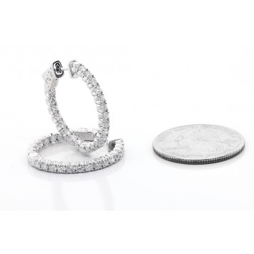 2.03 Cts Round Cut Diamond Hoop Errings set in 14K White Gold