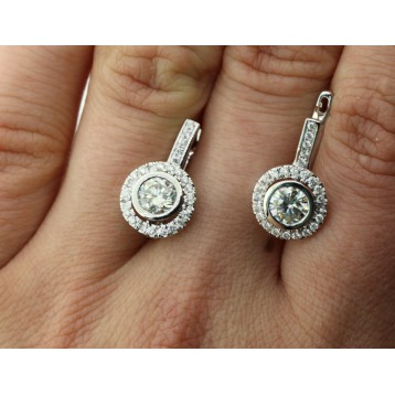 1.84 Cts Round Cut Certified Natural Diamond Earrings 14K White Gold
