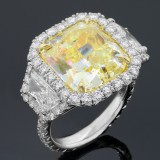12.95cttw Radiant/Trillion Cut Diamond Platinum Ring