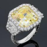 12.95cttw Radiant/Trillion Cut Diamond Platinum Ring