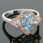 2.69ctw Vivid Pink Pear/Round Cut Diamond Ring 18K White Gold