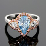 2.69ctw Vivid Pink Pear/Round Cut Diamond Ring 18K White Gold