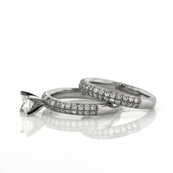 1.70CT Princess Cut Diamond Engagement Ring &  Wedding Band Set