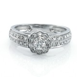 0.50 Cts Round Cut Halo Diamond Engagement Ring Set in 14K White Gold