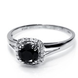 1.01 Cts. 14K White Gold Black Diamond Ring