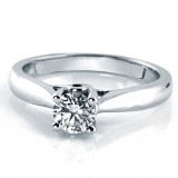 Solitaire Diamond Engagement Ring, 14Kt White Gold