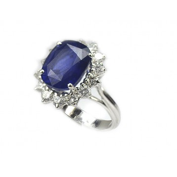 10.69 Ct Blue Sapphire and Diamond Engagement Ring, 18K White Gold