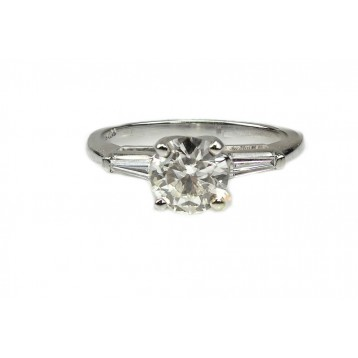 1.21 Cts Round Cut Diamond with Baguette Set Band Engagement Ring Set in Platinum