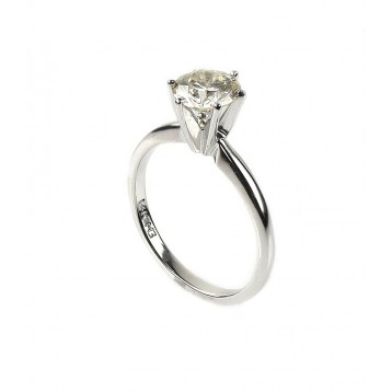 1.11 Cts Round Shape Solitaire Diamond Engagement Ring Set in 14K White Gold