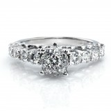 Milgrained Round Cut Diamond Ring in 14K White Gold