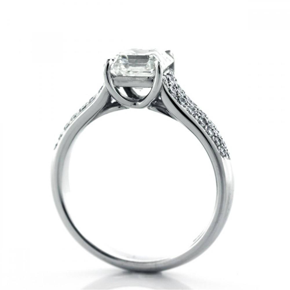 2ct Platinum Asscher Cut Diamond Engagement Ring