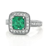 Square Emerald and Diamond 18KT White Gold Ring in a Micro Pave Mounting