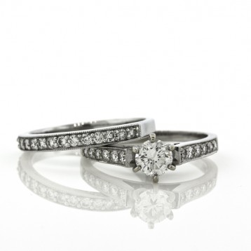 1.50CT Diamond Engagement Ring & Wedding Band Set