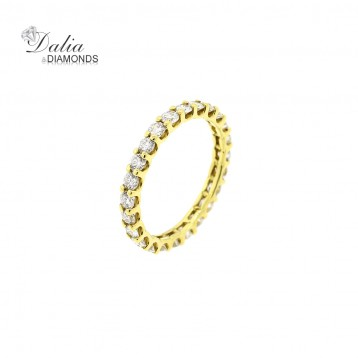 1.40 CTW Round Cut Diamond Eternity Band in 18K Yellow Gold