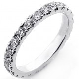 1.04 Ctw Round Cut Diamond Eternity Band Set in 14K White Gold