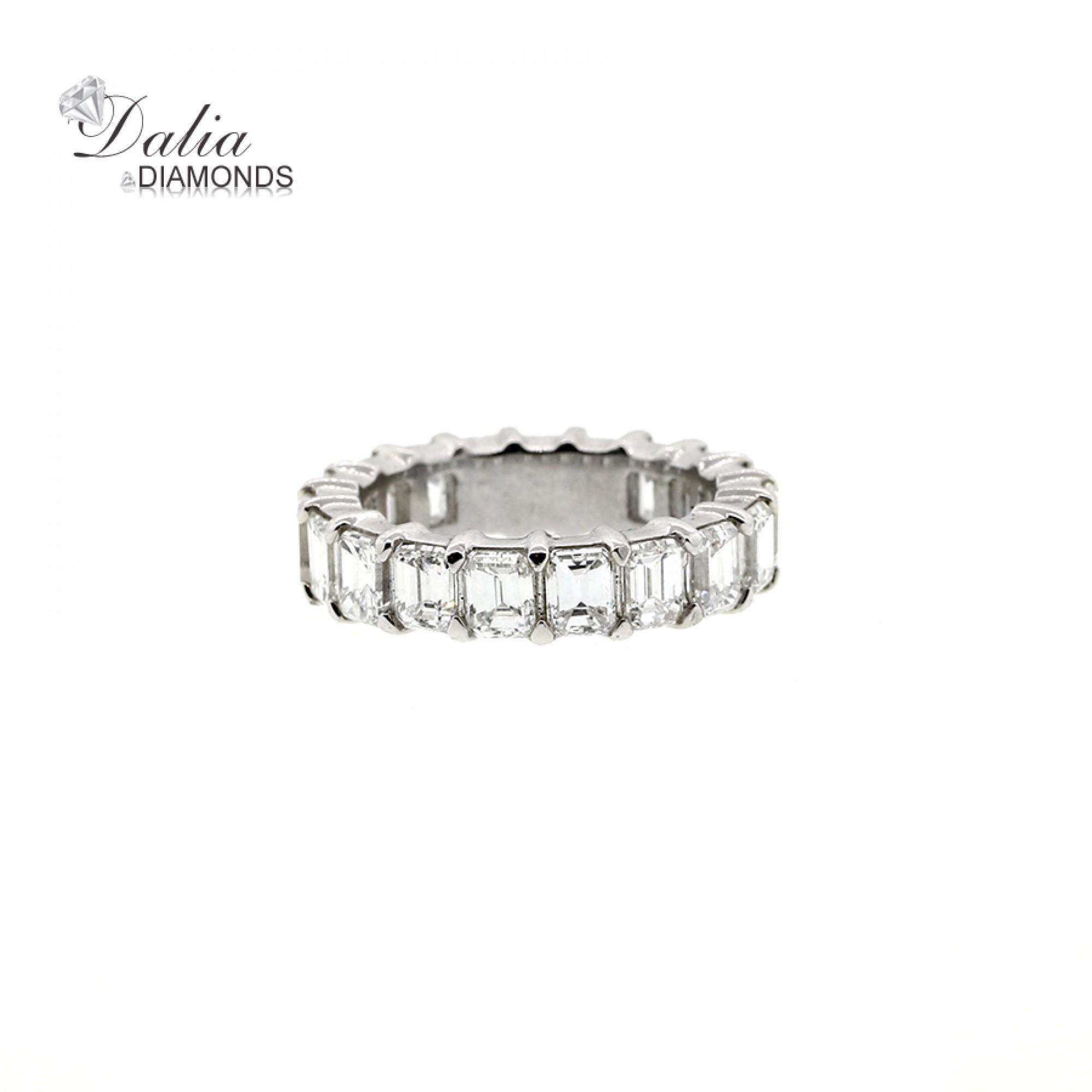 1136c855ecf63 6.33 Cts Emerald Cut Diamond Eternity Wedding Band set in Platinum ...