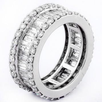 3.82CT DIAMOND BAGUETTE RING 14K WHITE GOLD