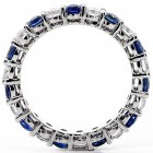 1.96 Ctw Eternity Round Cut Diamond And Sapphire Wedding Band Set in 14K White Gold
