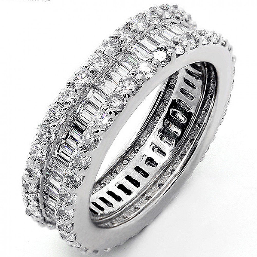 372 Platinum Eternity Diamond Band Inbination Of Baguette And Round  Cut Diamonds