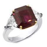 9.16 Cts Ruby Three Stone Engagement Ring set in Platinum