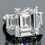 24.64ctw 3-Stone Emerald Cut Diamond Ring PLATINUM