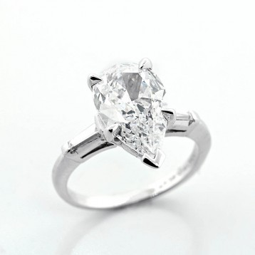 2.40 Cts Pear Shape Diamond Engagement Ring