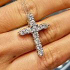 2.12 cts Round Cut Diamond Cross 14K White Gold