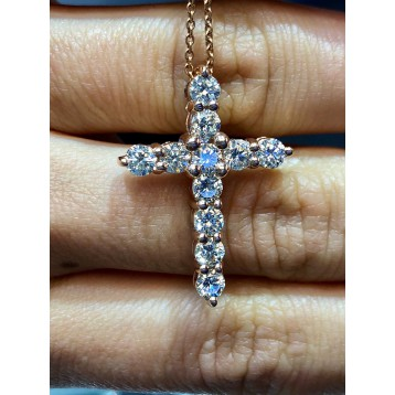 2.17 TCW ROUND CUT DIAMOND CROSS 14K Rose Gold