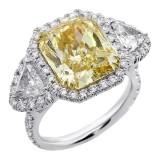 9.91 Cts Luxury Fancy Yellow Diamond Engagement Ring set in Platinum