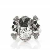Men's Black and White Diamonds Skull Ring