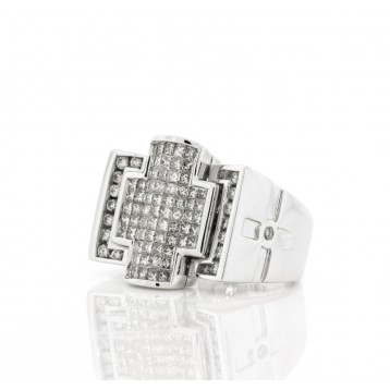 Men's Invisible Set Diamond Cross Ring