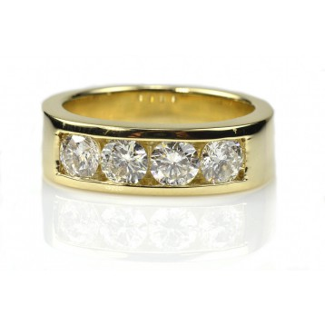 2.00 Cts. Yellow Gold 4 Diamonds Men's Ring