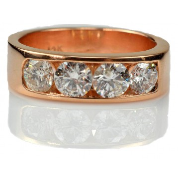2.30 Ctw Four-Stone Channel Set Diamond Men's Ring in Rose Gold
