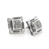 14Kt White Gold and Diamond Large Stud Earrings 1.37Ct