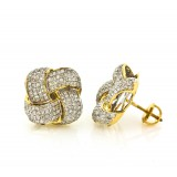 14Kt Yellow Gold and Diamond Knot Stud Earrings 1.35Ct