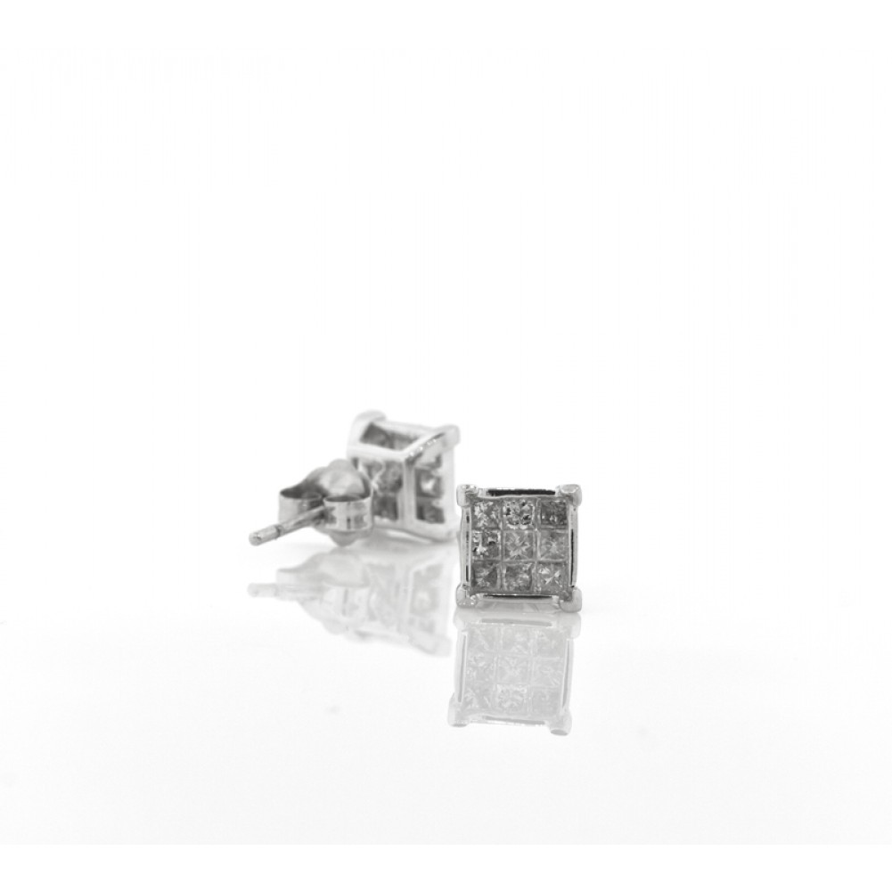 invisible princess stud p earrings diamond set wh