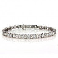 11.38 Cts. 18K White Gold Round and Emerald Cut  Diamond Bracelet