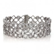 10.53 Cts. 18K White Gold Triple Row Diamond Bracelet