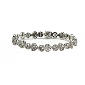 6.92 Cts. 18K White Gold Heart and Round Diamond Bracelet