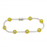 1.00CT Diamond and Yellow Lucite  18KT White Gold Bracelet