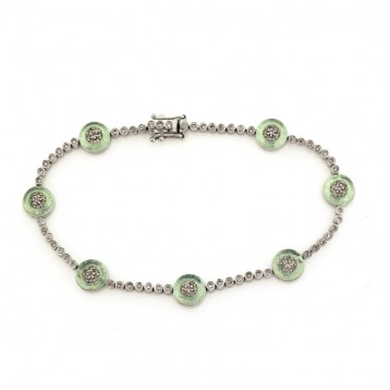 1.00CT Diamond and Green Lucite  18KT White Gold Bracelet